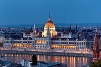View over the Danube river to the world largest parliament, 268m long, 118m wide and with 691 rooms, the dome is 96 meters high. Built from 1885-1904 ...