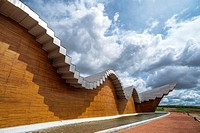 Ysios Winery designed by Santiago Calatrava after last flooding renovation. LaGuardia, Rioja Alavesa, Alava, Basque Country, Spain.