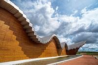 Ysios Winery designed by Santiago Calatrava after last flooding renovation. LaGuardia, Rioja Alavesa, Alava, Basque Country, Spain.