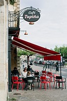 Terrace. Cafe Tupina. French cafe in Bordeaux. Bordeaux. Gironde. Aquitaine. France. Europe.