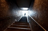 Germany, Bavaria, Munich, Underground, Person Coming Out of the Metro.