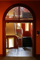 Staircase at Austin Hall, Romanesque Revival university building at Harvard Law School, Cambridge, MA, USA.