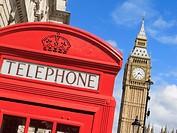 Big Ben and Telephone Box Westminster London England UK.