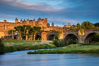 Setting sunlight over town of Carcassonne and River Aude, Languedoc-Roussillon, France.