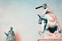 Italy, Tuscany, Florence, Loggia Della Signoria, Hercules and the Centaur