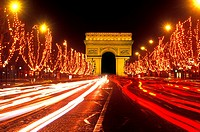 Famous Champs Elysees and Arc de Triomphe Paris France.