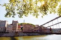 Passerelle Saint-Vincent, France, Rhone, Lyon, historical site listed as World Heritage by UNESCO, Vieux Lyon Old Town.