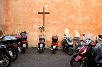 Cross and motorbikes, Rome, Italy.