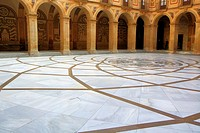 Monserrat abbey courtyard, Catalonia, Spain.