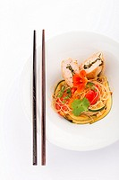 Asian food with piece of stuffed chicken, noodles, zucchini, carrots and tomatoes.