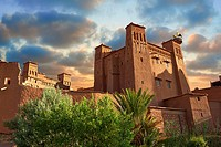 Adobe buildings of the Berber Ksar or fortified village of Ait Benhaddou, Sous-Massa-Dra Morocco.