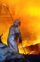 worker with hot steel.