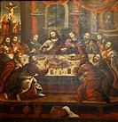 The Last Supper painting by Marcos Zapata in the Cathedral at Plaza de Armas, Cuzco, Peru.