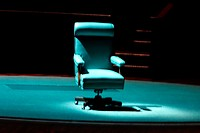 Chair on Stage, Cambridge, Massachusetts, United States.
