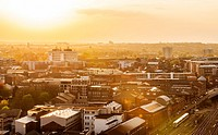 Aerial of the Jewellery Quarter at sunset, Birmingham.
