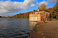 Newmillerdam Country Park Lake and Boathouse in Autumn, Wakefield, West Yorkshire, England, UK,.