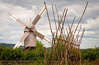Field scene with windmill Detmold, Germany.