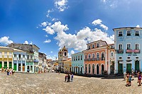 Brazil, Bahia, Salvador, Pelourinho: The triangular plaza Largo do Pelourinho within Salvador de Bahia's beautifully restored historic center of Pelou...