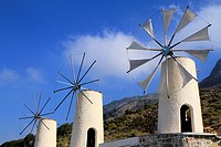 White-sailes windmills in the Lassithi plateau, Crete, Greece.