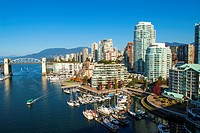 Buildings on the north shore of False Creek, Vancouver, BC, Canada.