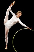 Rhythmic gymnastics. Studio shot.