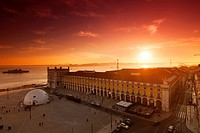Praca do Comercio at Sunset, Lisbon, Portugal, Europe.