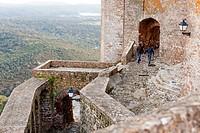 Tourists at the castle in Castellar de la Frontera, Cadiz, Spain.