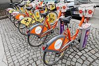 Bikes at station of Vienna sharing system Citybike.