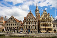 The medieval guild houses of Graslei quay, viewed from across the water. Ghent, Belgium.
