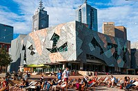 Federation Square, Melbourne on a summer evening.