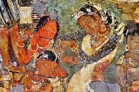 Cave 1: Mahajanaka Jataka - Dancing scene. Ajanta Caves, Aurangabad, Maharashtra, India.