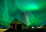 Northern lights above small village of Bleidabollstadur, Vatnajokull National Park, Iceland.