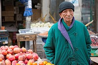 Down Town, Amman, Jordan, Middle-East. Seventy (70) year old owner of a market stall, down town Amman, where he sells regionally produced fruits and v...