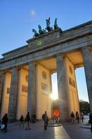 The Brandenburg Gate at sunset, Berlin, Germany.