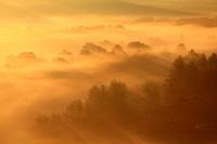 Landscape at sunrise in autumn, Serrania de Cuenca Natural Park. Cuenca province, Castile La Mancha, Spain.