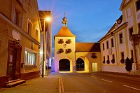 Landscape of an old town in blue hour, Franconia, Germany