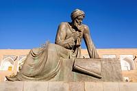 Statue of Al Khwarizmi, a ninth century mathematician, Ichan Kala, Khiva, Uzbekistan.