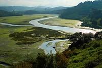 View of Brazo Mayor River from the castle of San Vicente de la Barquera, Region of Cantabria, Spain