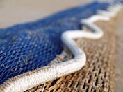 Snake shape fishing net at Sant Carles de la Rapita fishing port. Montsia Region, Tarragona Province, Catalonia, Spain.