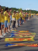 The Catalan Way, the human chain stretching across Catalonia State from north frontier with France up to southern limits with Castellon province. N340...