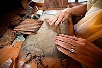 Close-Up photo of a woman preparing a cuban cigar in Casa de la Cultura, Trinidad, Sancti Spíritus Province, Cuba, West Antilles, Central America.