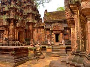 Banteay Srei temple, cntral courtyard with monkey and yaksha guardian figures. Siem Reap, Cambodia. Dedicated o Hindu god Shiva.