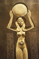 Egyptian civilization, The Goddess Nut raising the sun, from the inside lid of the Djedhor Sarcophagus 378-341 BC . Louvre Museum, Paris, France