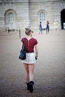 Girl walking in London.