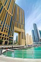 Promenade around Dubai Marina, Dubai, United Arab Emirates.