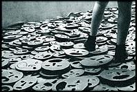 Germany, Berlin, Jewish Museum, by Daniel Libeskind, Memory Void Room, Installation, Shalechet Fallen Leaves by Menashe Kadishman.