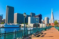 San Francisco downtown from pier 7 in California USA.