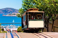 San francisco Hyde Street Cable Car Tram of the Powell-Hyde in California USA.
