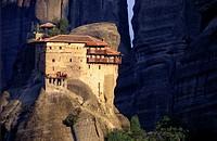 Perched Monastery of Saint Nicholas Anapausas Meteora Thessaly Greece.