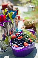 Celebration table. Colorful sets.
